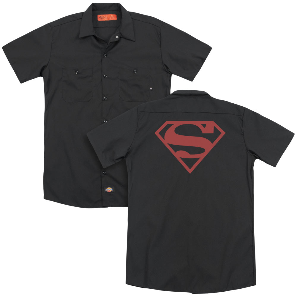 Superman Red On Black Shield Adult Work Shirt