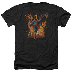Superman Through The Fire Adult Regular Fit Heather T-Shirt