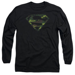 Superman - Distressed Camo Shield Adult Long Sleeve T-Shirt