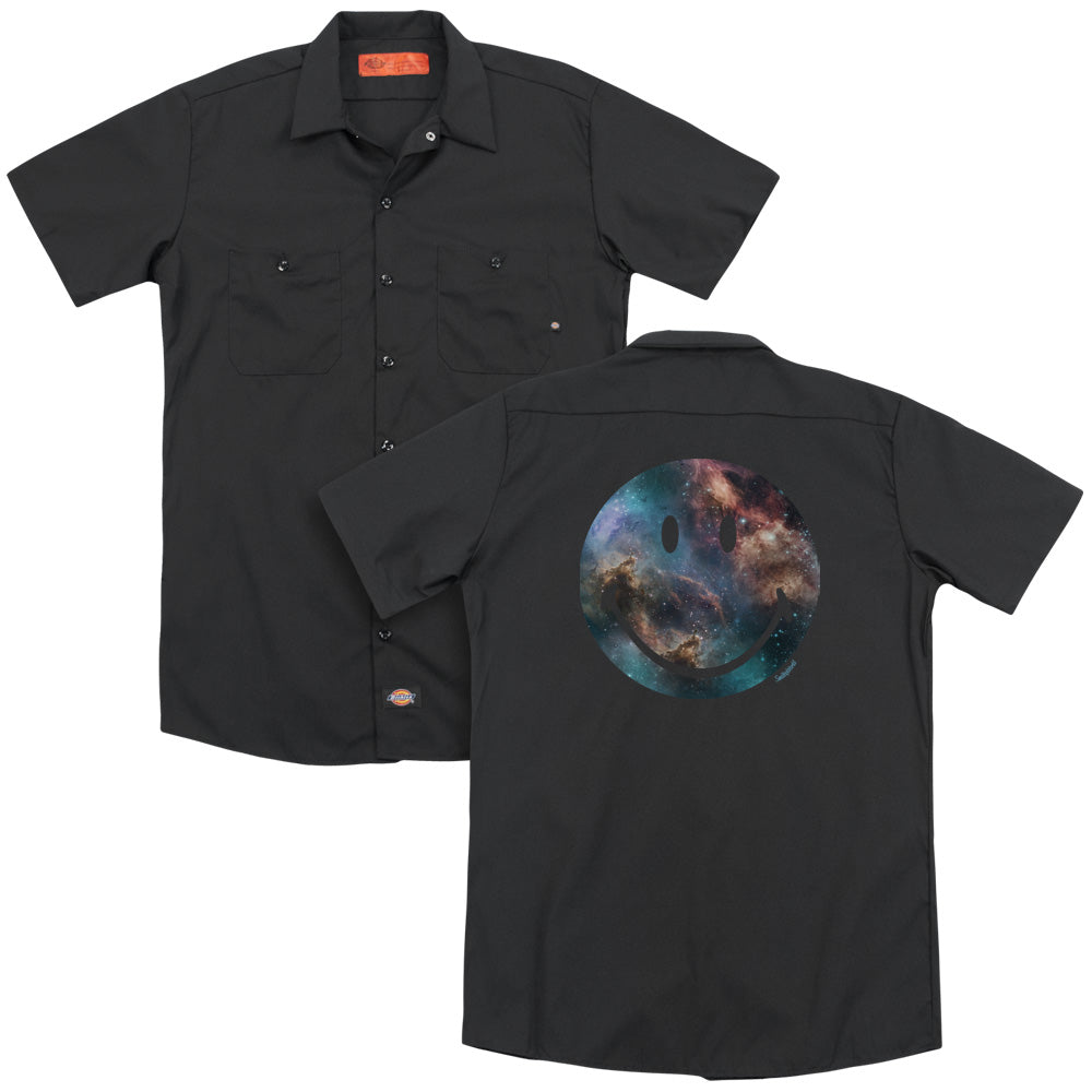 Smiley World Galaxy Face Adult Work Shirt