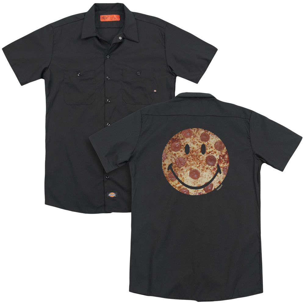 Smiley World Pizza Face Adult Work Shirt