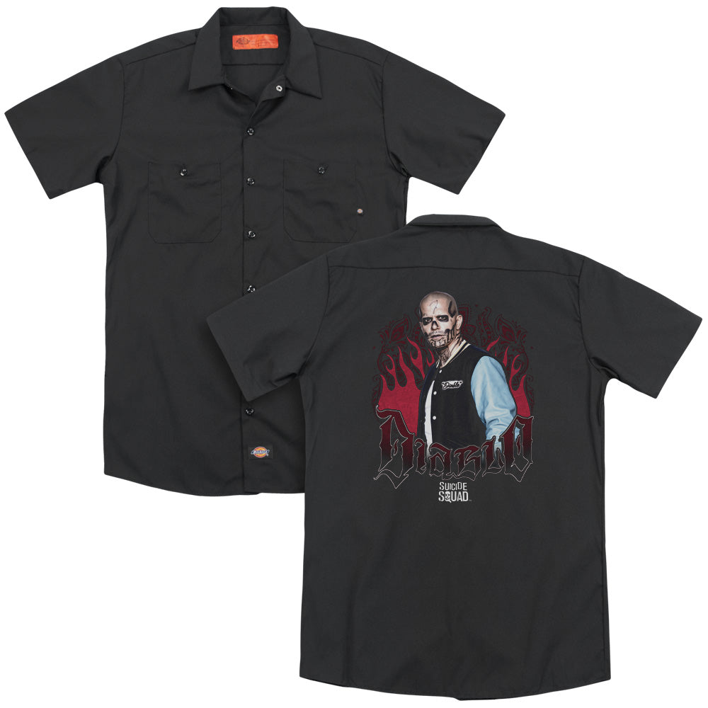 Suicide Squad - Diablo Flames Adult Work Shirt