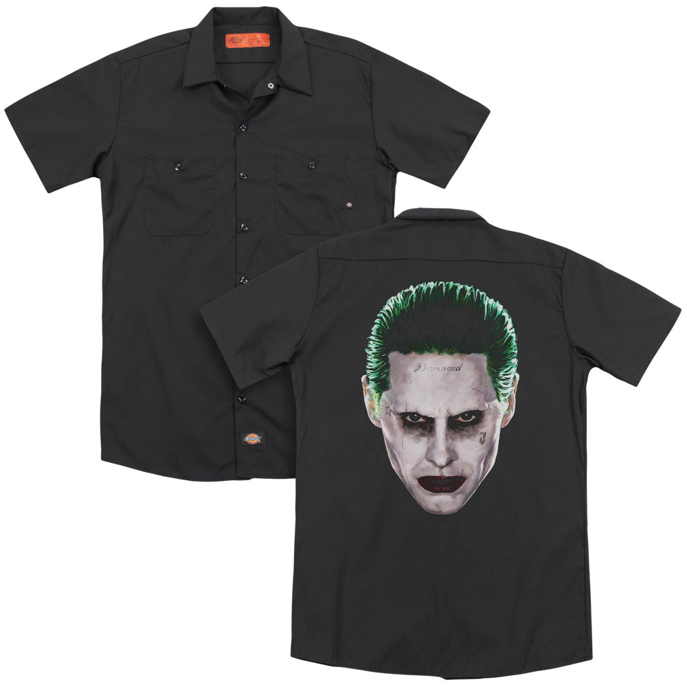 Suicide Squad - Joker Head Adult Work Shirt