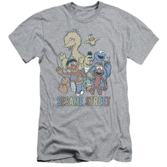 Sesame Street - Colorful Group Adult Slim Fit T-Shirt