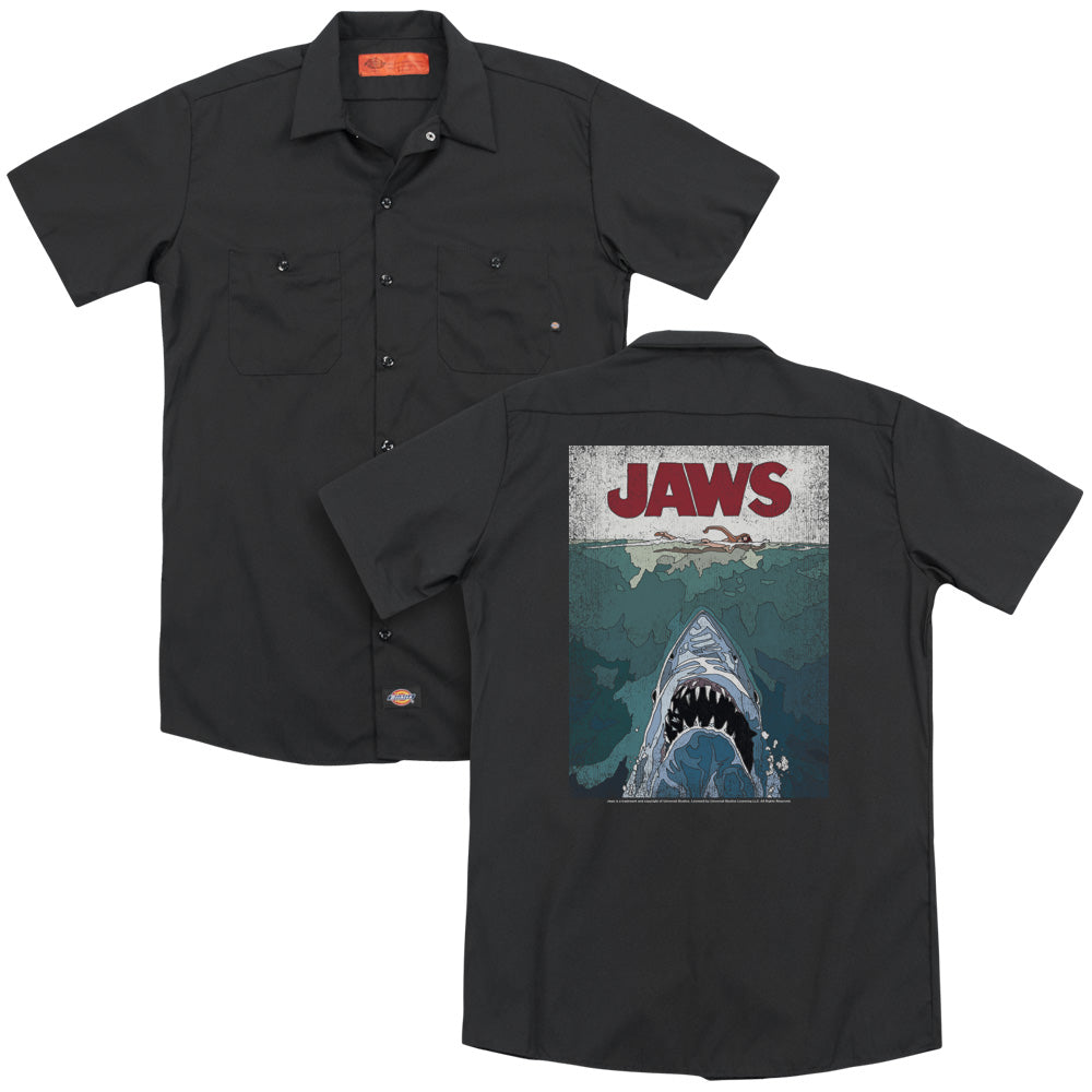 Jaws Lined Poster Adult Work Shirt