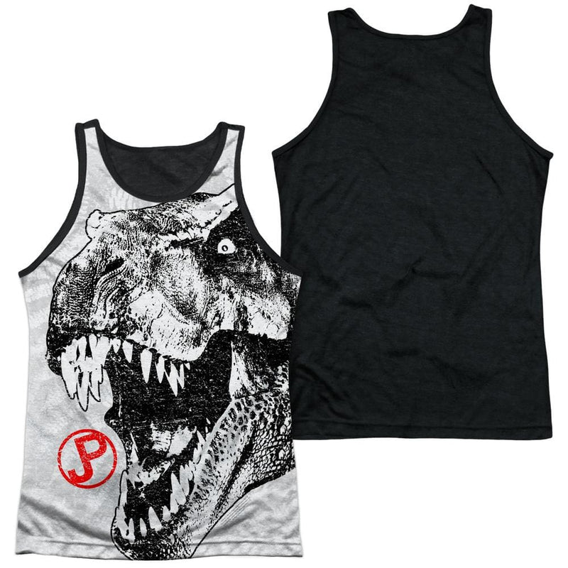 83eb2d9dc565c Jurassic Park T Rex Head Men s Black Back Tank - Sons of Gotham