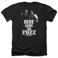 Hot Fuzz Here Come The Fuzz Adult Regular Fit Heather T-Shirt