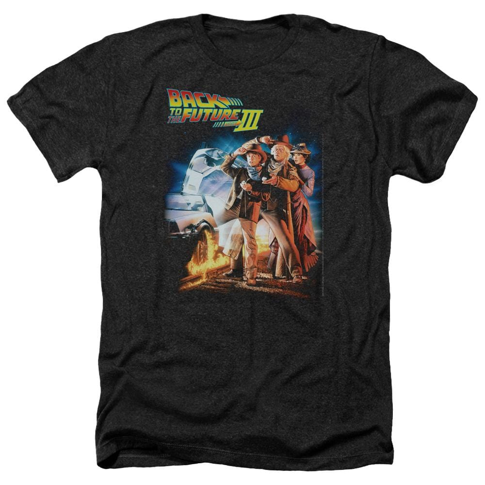 Back To The Future Iii Poster Adult Regular Fit Heather T-Shirt