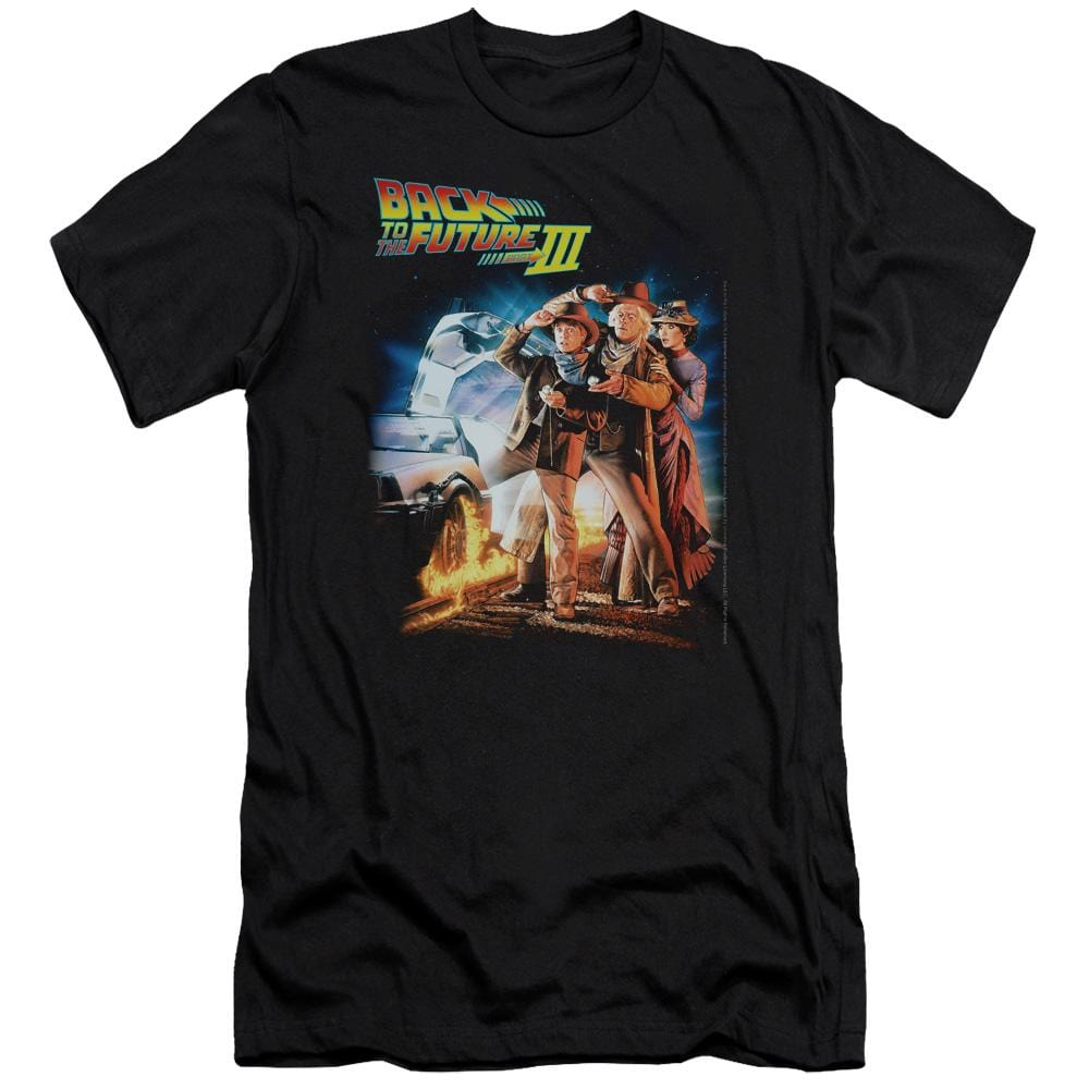 Back To The Future Iii Poster Premium Adult Slim Fit T-Shirt
