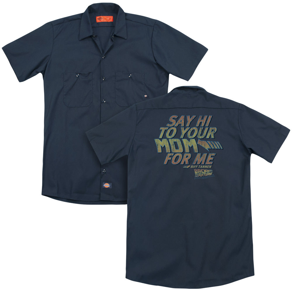 Back To The Future Say Hi Adult Work Shirt