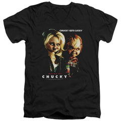 Bride Of Chucky - Chucky Gets Lucky Adult V-Neck T-Shirt