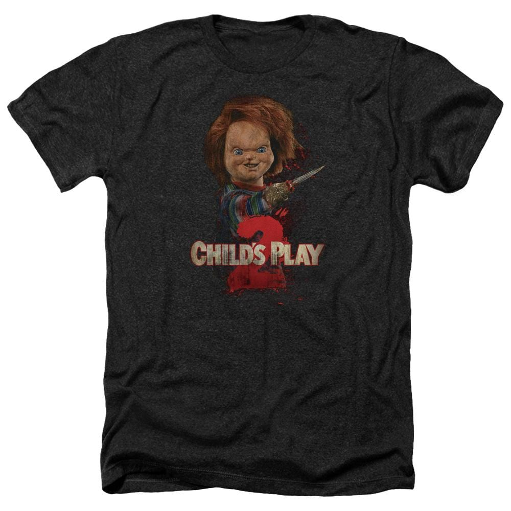Childs Play 2 Heres Chucky Adult Regular Fit Heather T-Shirt