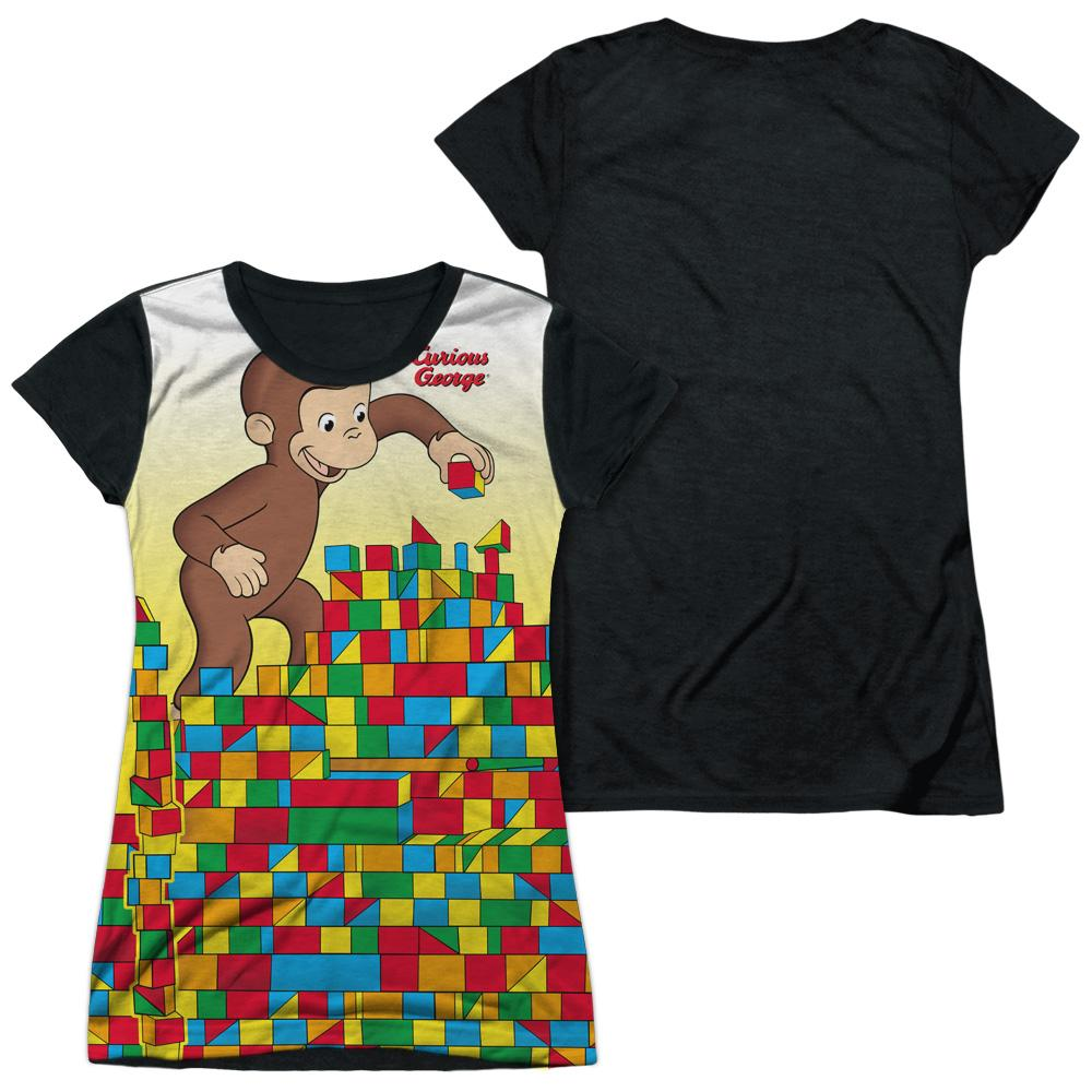Curious George - Building Blocks Junior All Over Print 100% Poly T-Shirt