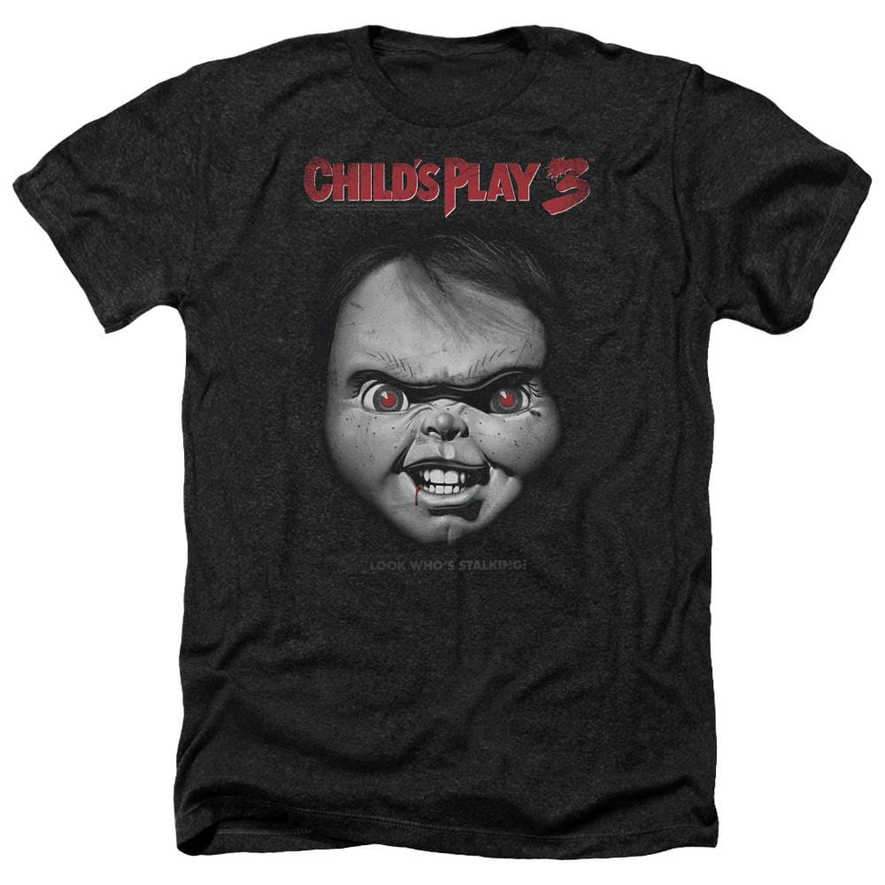 Childs Play 3 Face Poster Adult Regular Fit Heather T-Shirt