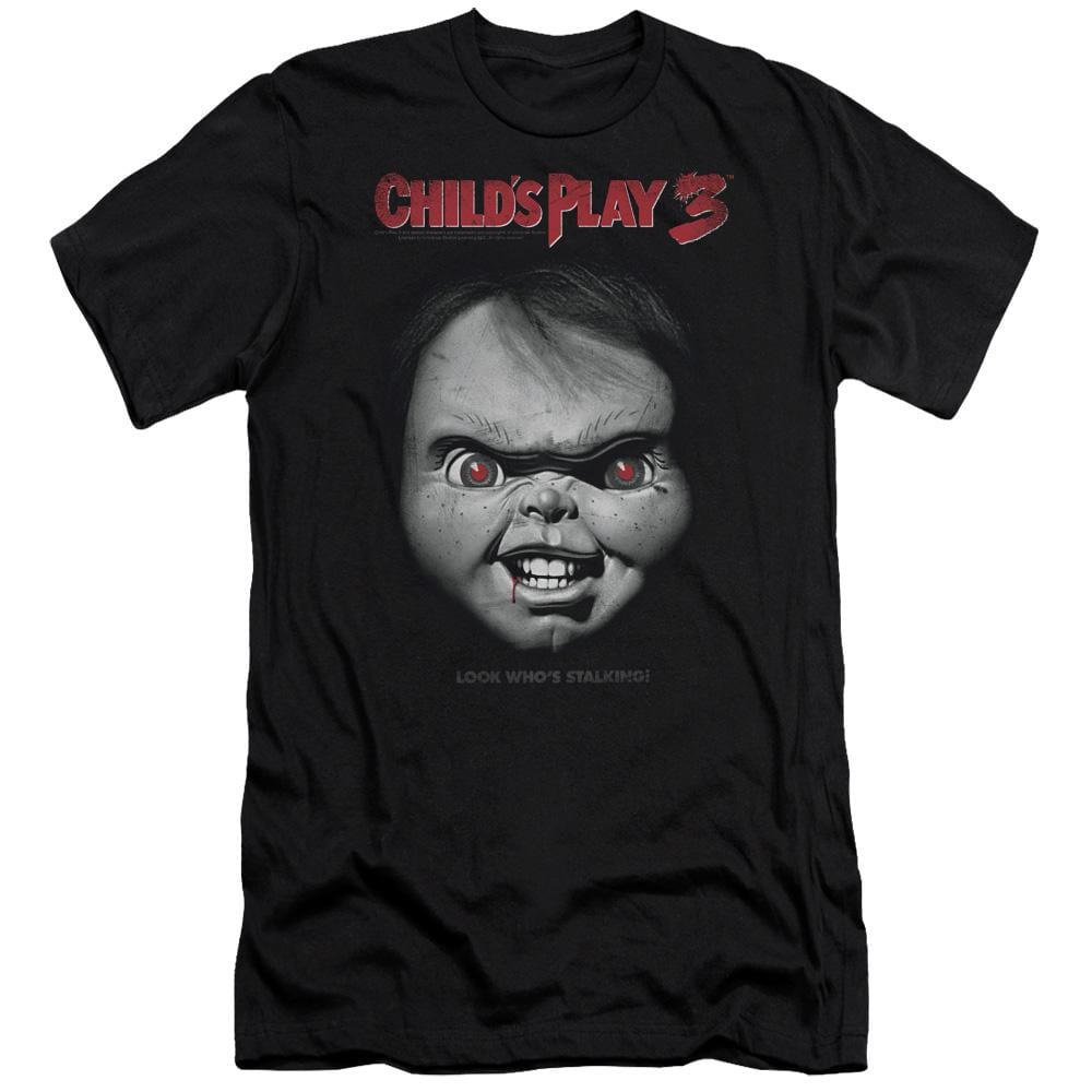 Childs Play 3 Face Poster Premium Adult Slim Fit T-Shirt