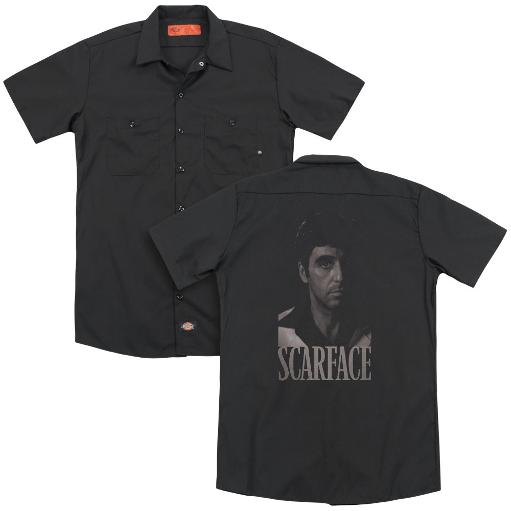 Scarface B&w Tony Adult Work Shirt