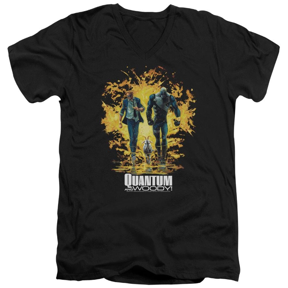 Quantum And Woody Explosion Adult V Neck T-Shirt