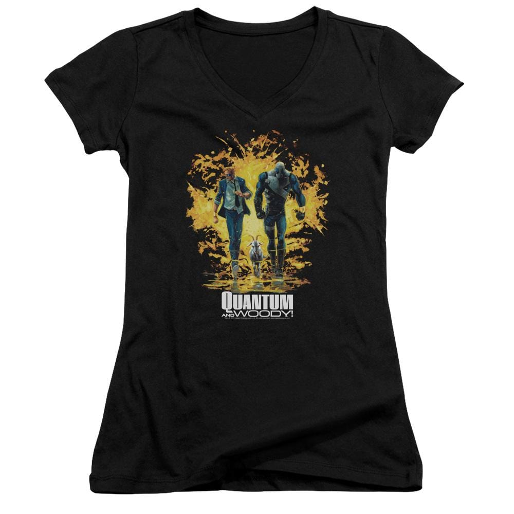Quantum And Woody Explosion Junior V-Neck T-Shirt