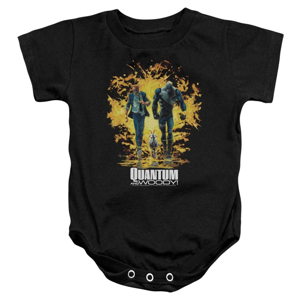 Quantum And Woody Explosion Baby Onesie
