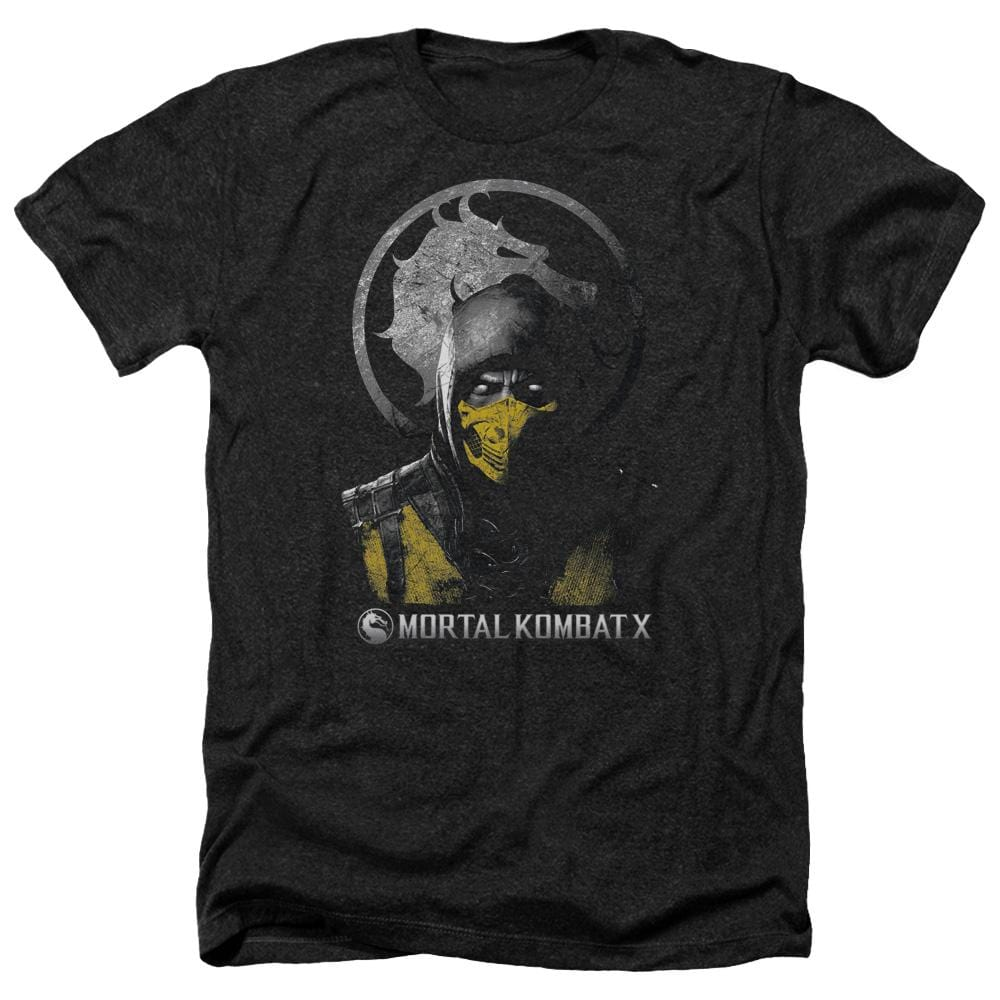 Mortal Kombat X Scorpion Bust Adult Regular Fit Heather T-Shirt