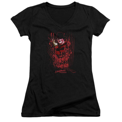 A Nightmare on Elm Street One Two Freddys Coming For You Juniors V-Neck T-Shirt