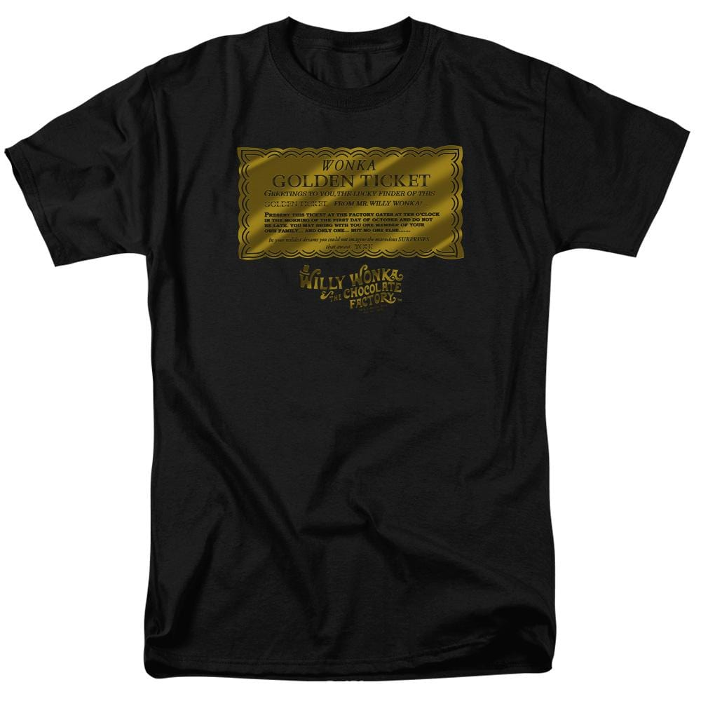 Willy Wonka And The Chocolate Factory Golden Ticket Adult Regular Fit T-Shirt