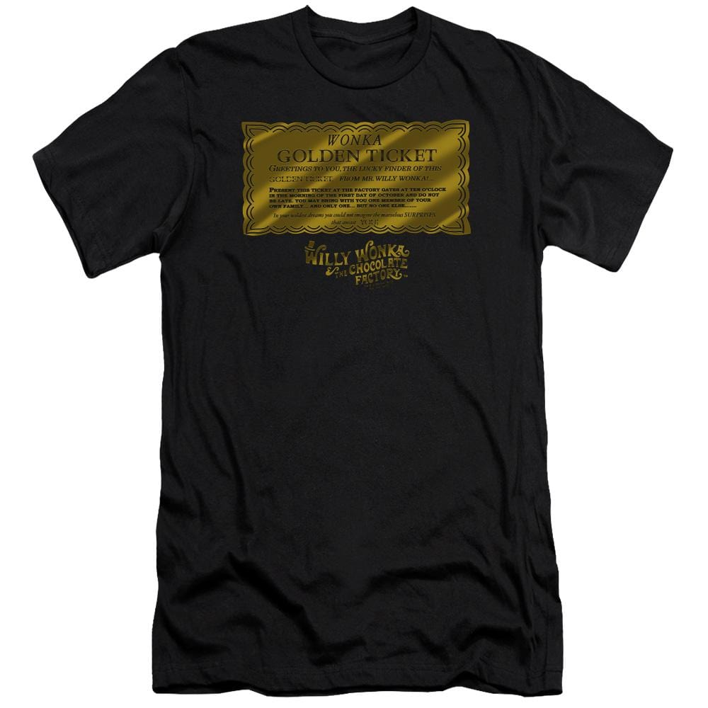 Willy Wonka And The Chocolate Factory Golden Ticket Adult Slim Fit T-Shirt