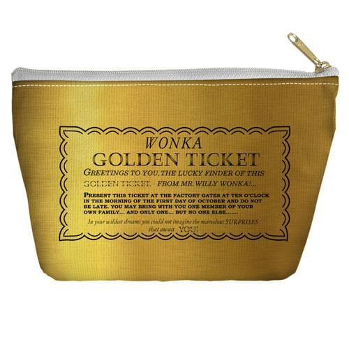 Willy Wonka And The Chocolate Factory I Got A Golden Ticket Accessory Tapered Bottom Pouch