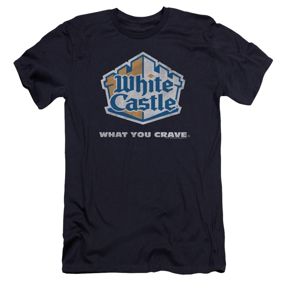 White Castle Distressed Logo Premium Adult Slim Fit T-Shirt