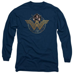 Wonder Woman Movie Power Stance And Emblem Adult Long Sleeve T-Shirt