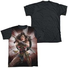 Wonder Woman Movie Protector Of Humanity Adult Black Back 100% Poly T-Shirt
