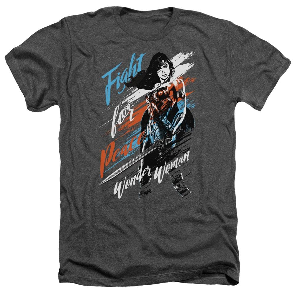 Wonder Woman Movie Fight For Peace Adult Regular Fit Heather T-Shirt