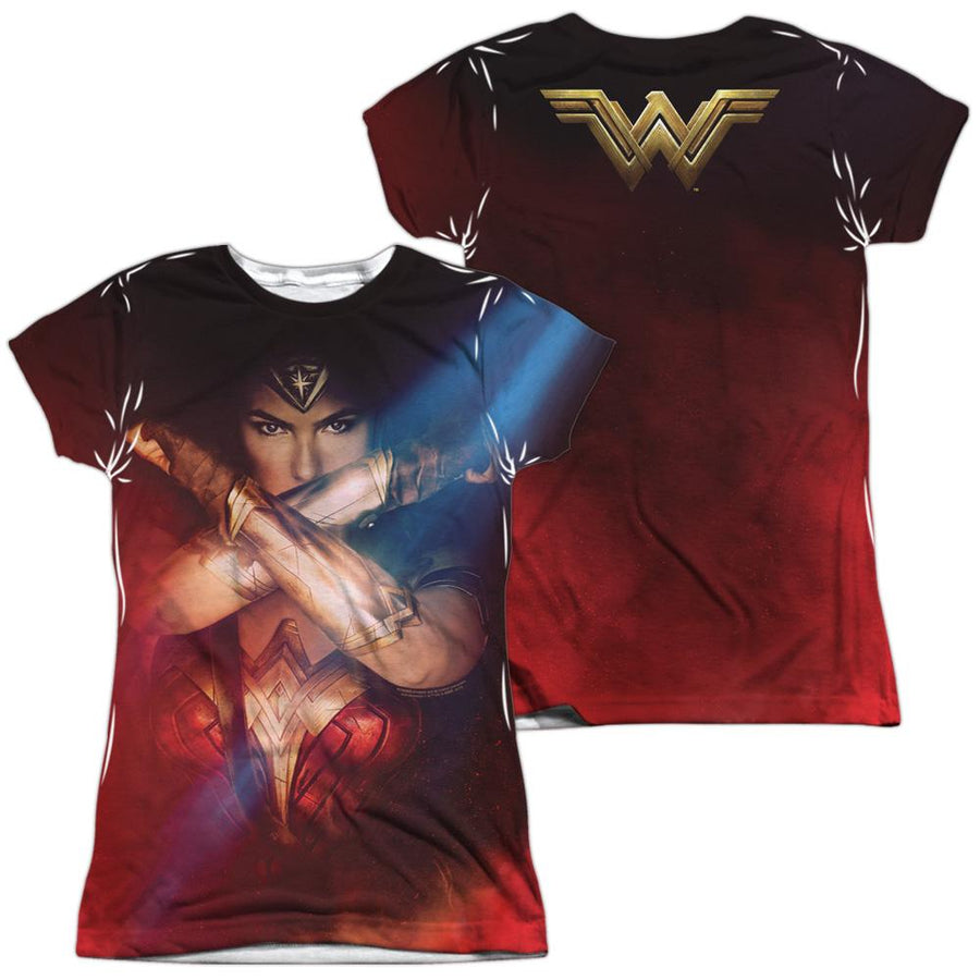 Wonder Woman Arms Crossed Juniors All Over Print T-Shirt