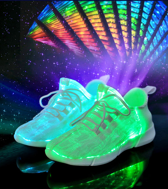 Size25-46 Fiber Optic Fabric Light Up Shoes 11 Colors Flashing Rechargeable