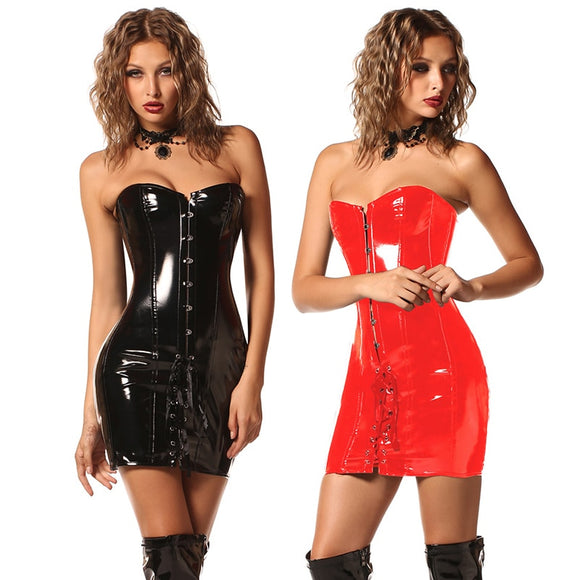 Black Red  Corset Dress Latex Waist Cincher Corselet Wetlook Leather Corsets