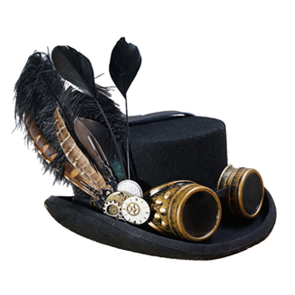 10CM Black Wool  Steampunk Top Hat For Women Men Steam Punk Gear Hat