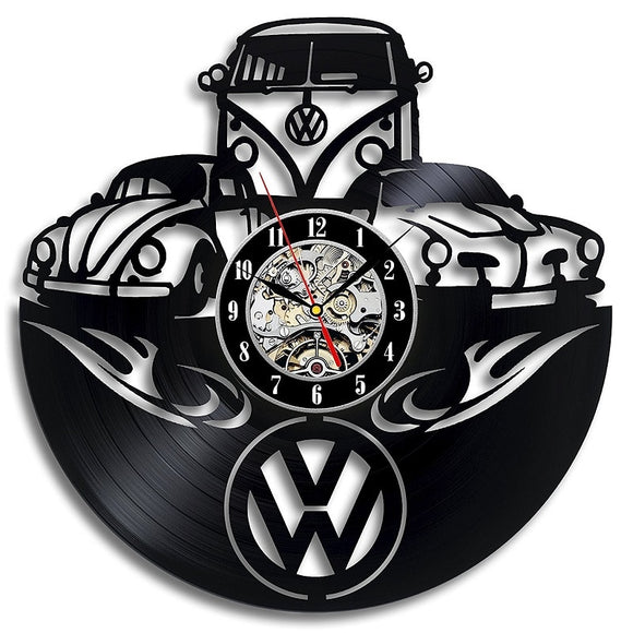 VW Car Logo Vinyl Record Wall Clock Modern