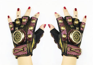 Steampunk Gear Leather Punk Gloves Vintage Gothic Half Finger Gloves