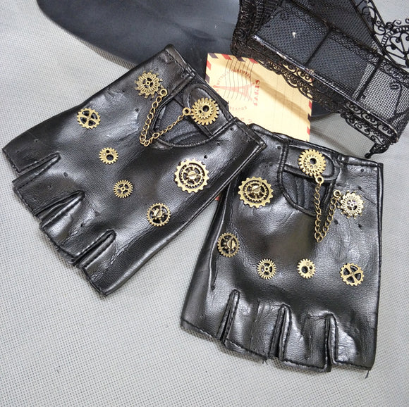 Steampunk Gear PU Punk Gloves Vintage Gothic Unisex Cosplay Gloves Medieval