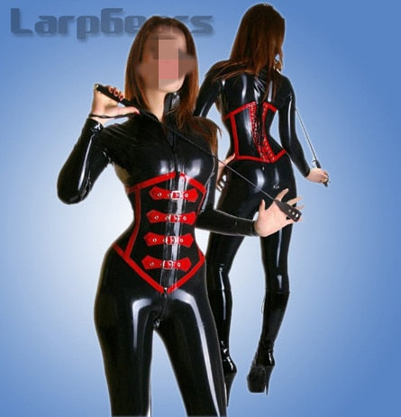 Black rubber latex catsuit with corset rubber corset catsuit bodysuits without socks