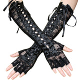 Long Retro Women Lolita Steampunk Armband Gloves Lace Hollow Vintage