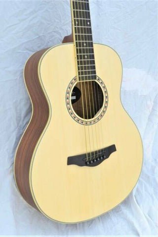 MARTINEZ MZ-TT33Z-NST SMALLER BODY ACOUSTIC ZEBRAWOOD BACK & SIDES GUITAR. - Musiclandshop