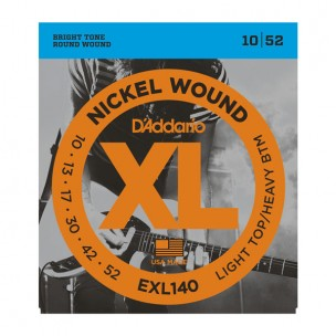 D'ADDARIO EXL140 NICKEL WOUND LIGHT TOP/HEAVY BTM .010-.052