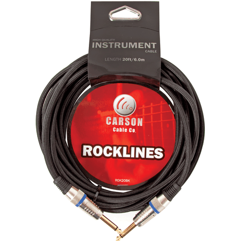CARSON ROCKLINES 10' INSTRUMENT CABLE BRAIDED BLACK - Musiclandshop