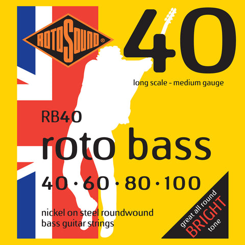 Rotosound RB40 Rotobass Nickel Roundwound Bass Strings 40-100 - Musiclandshop