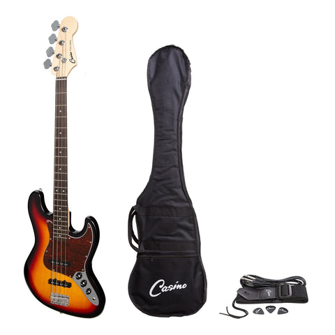 Casino J-Style Electric Bass Guitar (Tobacco Sunburst) - Musiclandshop
