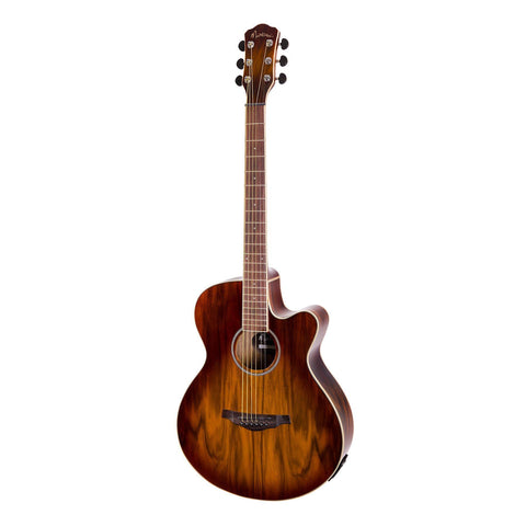 Martinez '31 Series' Daowood Small Body Acoustic-Electric Cutaway Guitar (African Brownburst) - Musiclandshop