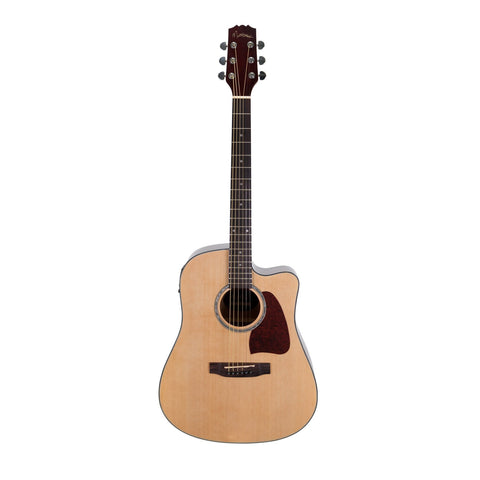 Martinez Acoustic-Electric Dreadnought Cutaway Guitar (Natural Gloss) - Musiclandshop