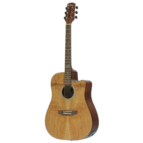 Martinez 'Mosaic Series' Spalted Maple Acoustic-Electric Dreadnought Cutaway Guitar (Mosaic Satin) - Musiclandshop