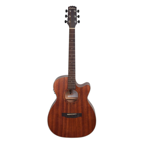 LEFT HAND Martinez 'Natural Series' Mahogany Top Acoustic-Electric Small Body Cutaway Guitar (Open Pore)